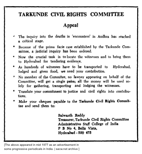 Scanned copy of the mid 1977 advertisement by a Tarkunde Civil Rights Committee